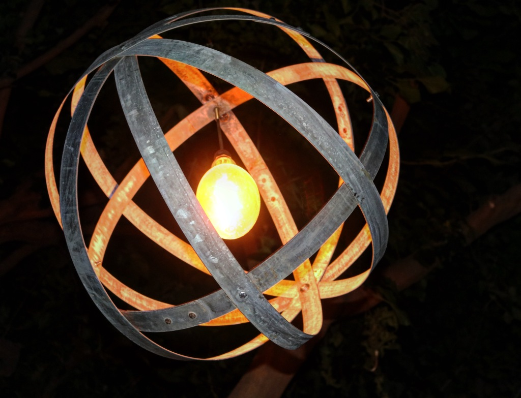 Lamp made from discarded Wine Barrel Rings.