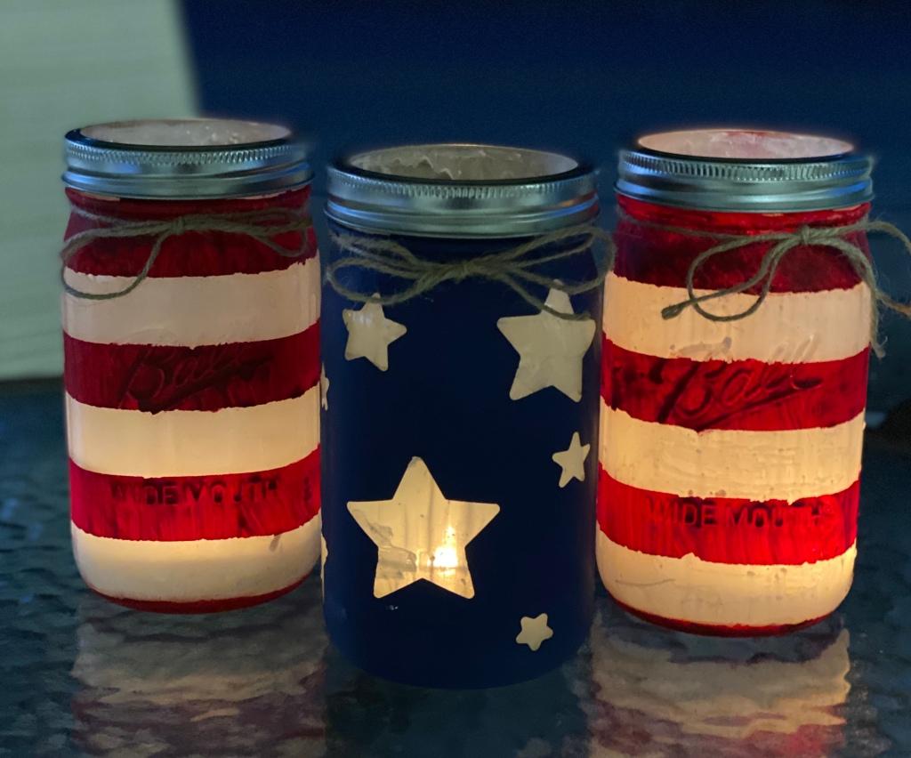 Finished and lit Patriotic Mason Jars