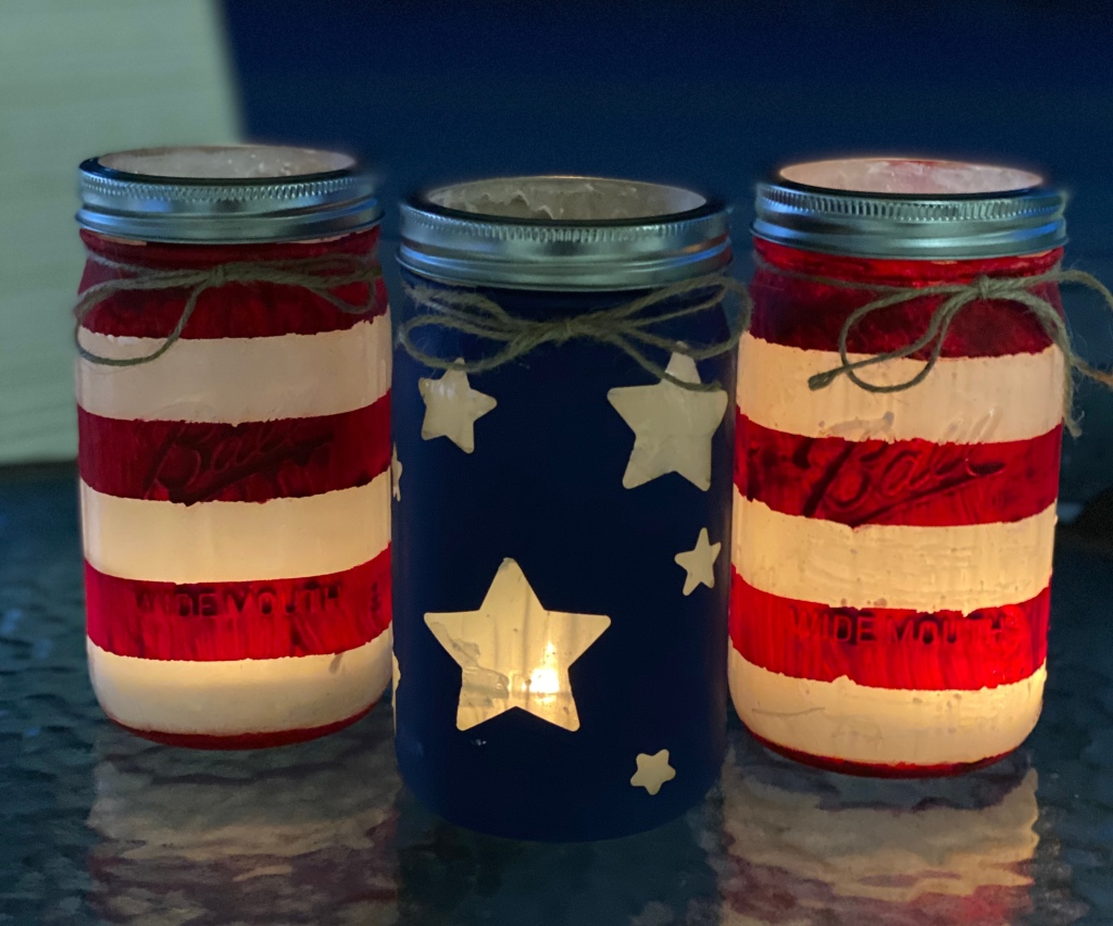 Finished and lit Patriotic Mason Jars