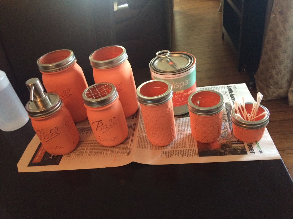 Coral colored bathroom set from painted Mason Jars.