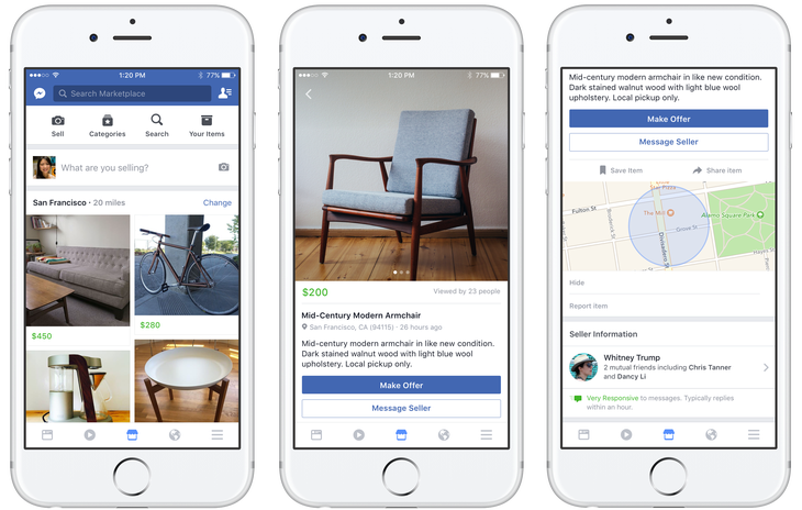 Example of Facebook Marketplace on a mobile device from TechCrunch.com